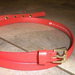 "H&M Orange Leather Look 5/8"" Skinny Belt L"